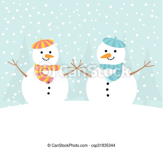 Schneemann Paar Winter Schneemann Winter Paar Abbildung