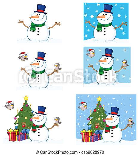 Freundlicher Schneemann mit süßen Vögeln - csp9028970