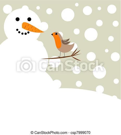 Schneemann Rotkehlchen Vogel Schneemann Weihnachten Winter
