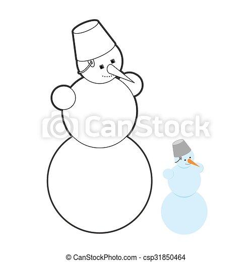 Schneemann, snow., seine, wischeimer, jahr, zeichen, schnee ...