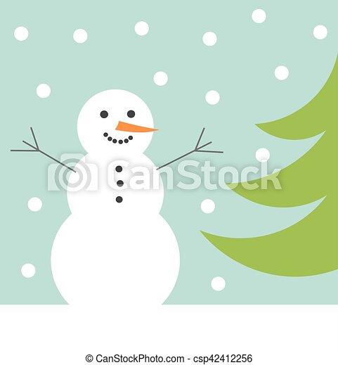 Schneemann Winter Karte Glücklich