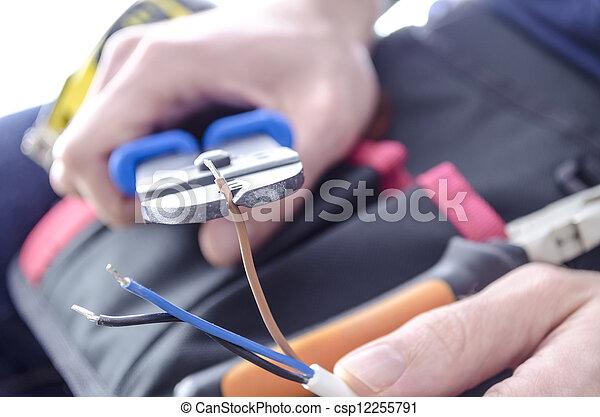 Schneiden, elektrisch, drähte. Drähte, elektrisch, worker\'s ...