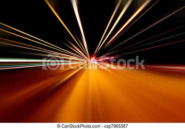 schnell, straße, rennen, nacht - csp7965587