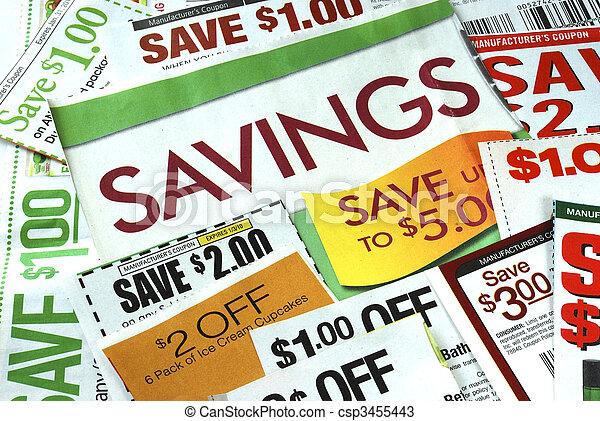 schnitt, geld, einige, auf, retten, kupons - csp3455443