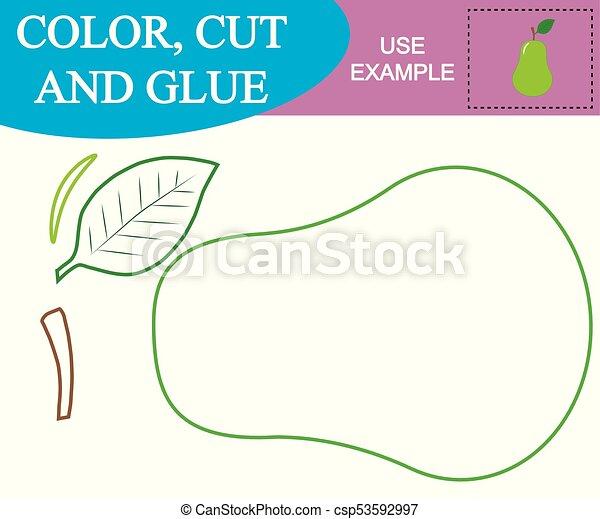 Schnitt, schaffen, birne, farbe, spiel, glue., children.,... EPS ...