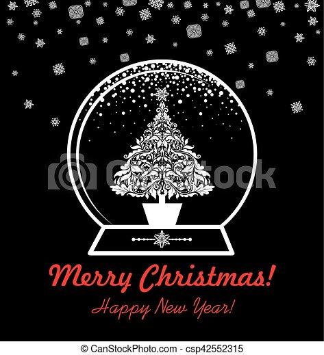 Schnitt Weinlese Erdball Baum Gruß Schwarz Weißes Weihnachten Karte Heraus
