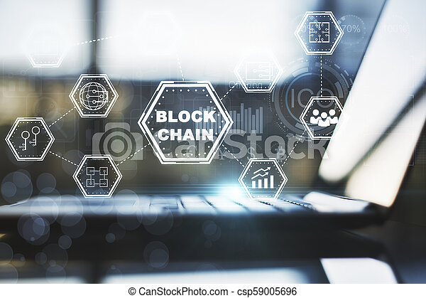 schnittstelle, laptop, blockchain - csp59005696