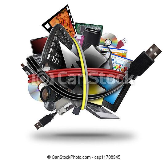 schnur, elektronisch, kugel, technologie, usb - csp11708345