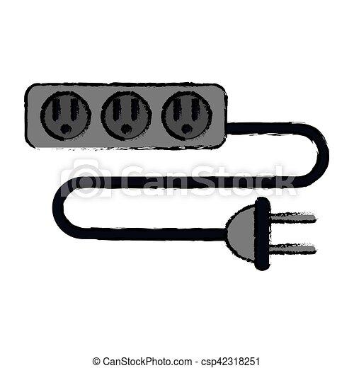 Schnur, stecker, verlängerung, kabel, steckdosen, drei,... Clipart ...
