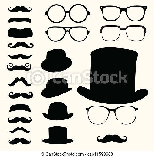 schnurrbärte, hüte, brille - csp11593688