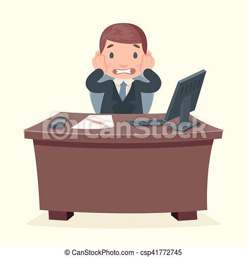 Schreibtisch büro clipart  EPS Vektorbild von schock, katastrophe, buero, zeichen, arbeit ...
