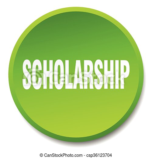 scholarship green round flat isolated push button - csp36123704