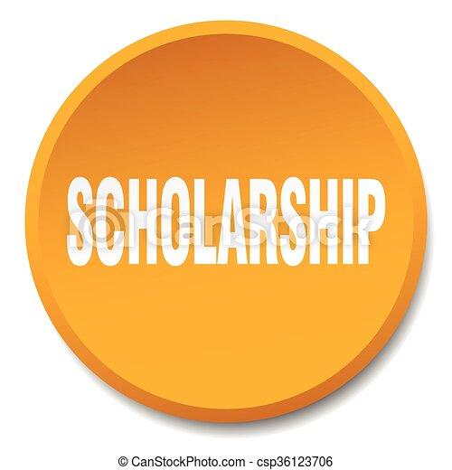 scholarship orange round flat isolated push button - csp36123706