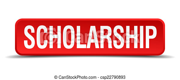 scholarship red 3d square button isolated on white - csp22790893