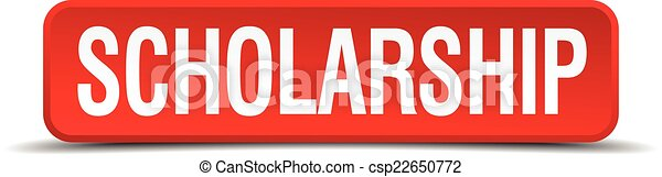 scholarship red 3d square button isolated on white - csp22650772