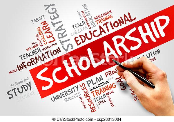 Scholarship word cloud, education concept.
