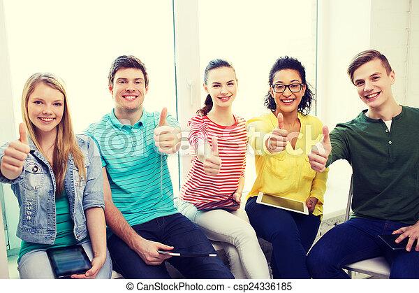 scholieren, pc, school, computers, tablet - csp24336185