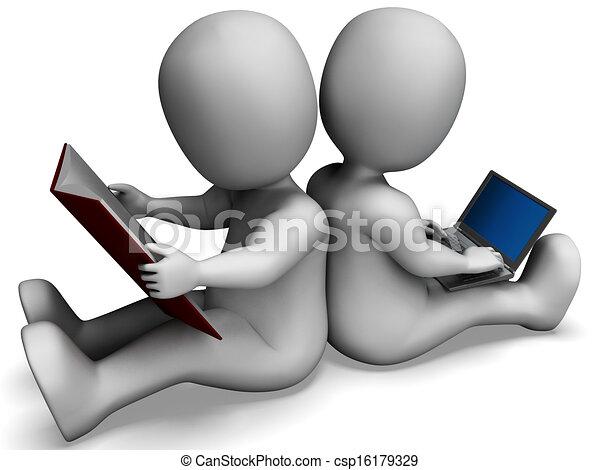 scholieren, studerend , boek, leren, online, of, optredens - csp16179329