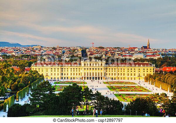 Schonbrunn palace in Vienna at sunset - csp12897797
