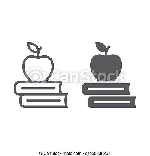 school, 10., appel, model, eps, bibliotheek, meldingsbord, opleiding, pictogram, vector, boekjes , grafiek, witte , glyph, lijn, achtergrond, lineair - csp58338251