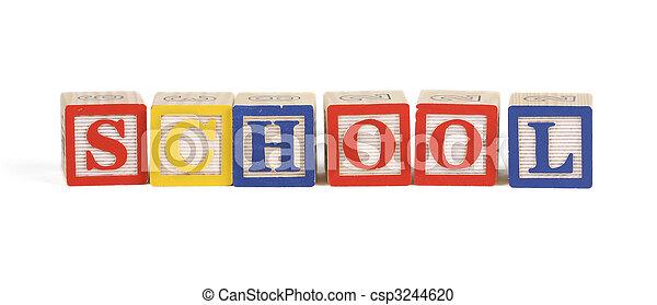 School - Alphabet blocks isolated - csp3244620