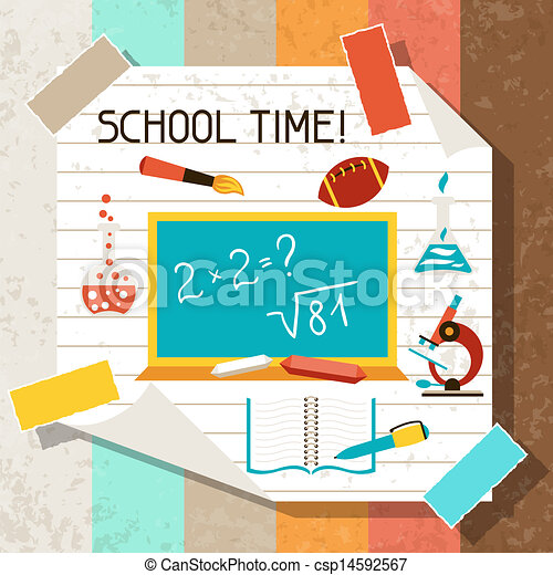 School and education background with sticky papers. - csp14592567