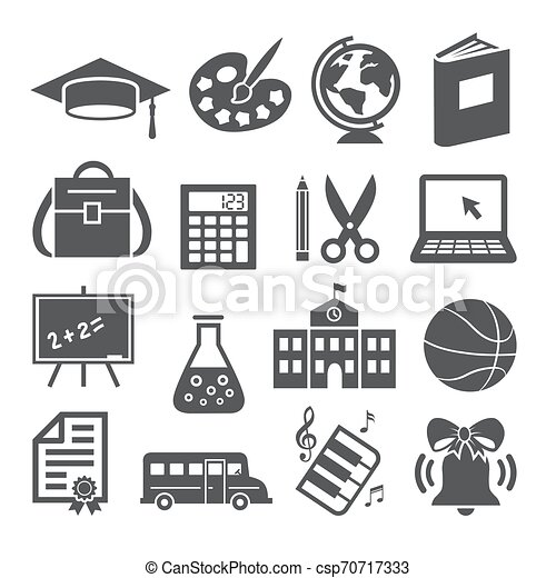 School and Education Icons on white background - csp70717333