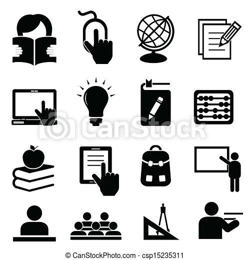 school, back, iconen - csp15235311