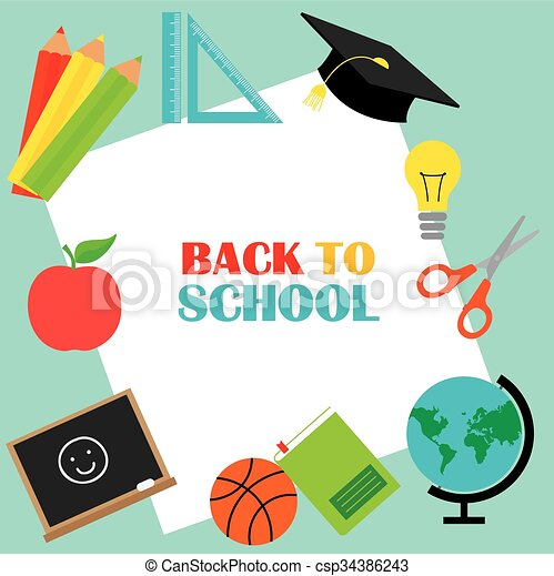 school, back, kaart - csp34386243