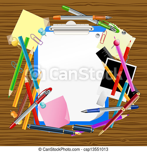 New school season template with office supplies new school season school background with clipboard and office supplies stopboris Image collections
