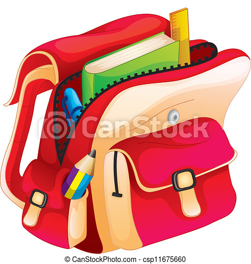 Illustration of a school bag on a white clip art vector ...