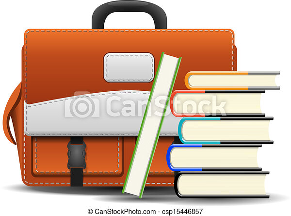 School bag with books - csp15446857