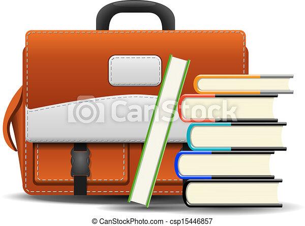School bag with books - csp15446857