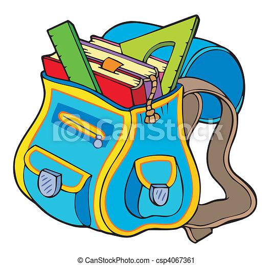 school bag with books vector illustration rh canstockphoto com bookbag clipart black and white bookbag clipart free