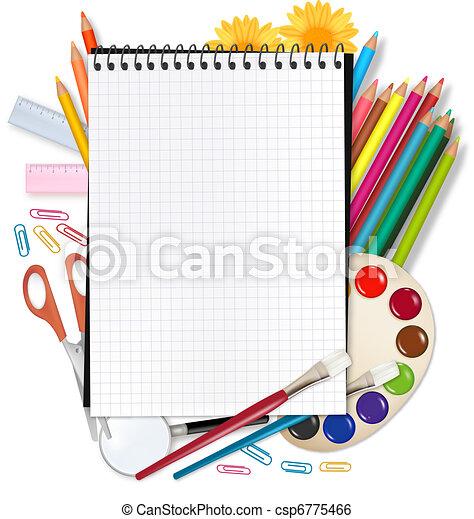 school., baksida, skola, anteckningsblock - csp6775466