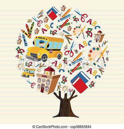 school, begrip beelden, boompje, geitjes, opleiding - csp58663844