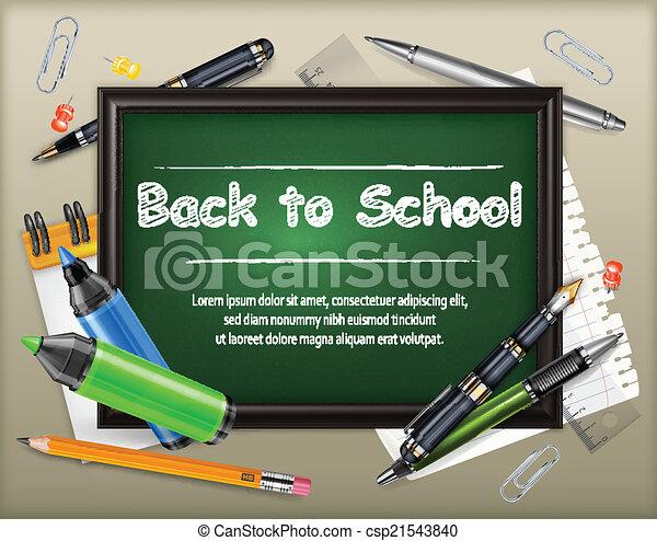 School blackboard and stationery - csp21543840