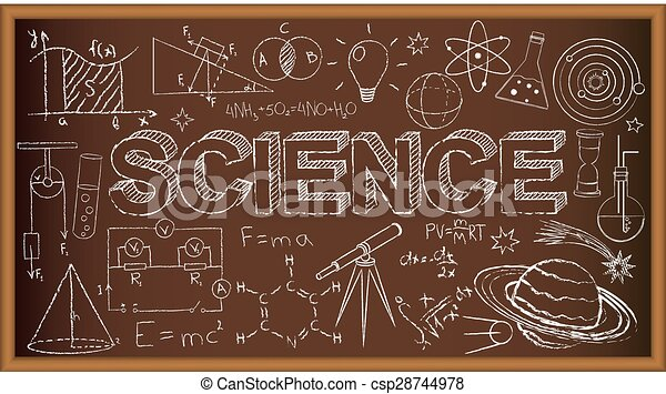 School board doodle with science symbols. Vector illustration - csp28744978