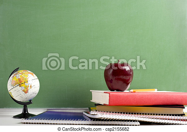 School Books a red Apple and a Globe - csp2155682
