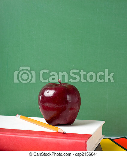 School Books and an Apple - csp2156641
