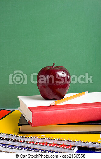 School Books and an Apple - csp2156558