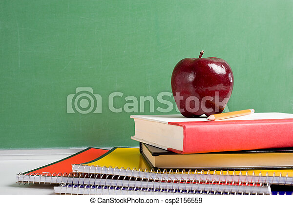School Books and an Apple - csp2156559