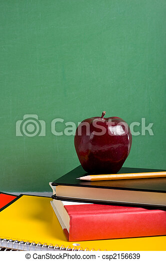 School Books and an Apple - csp2156639