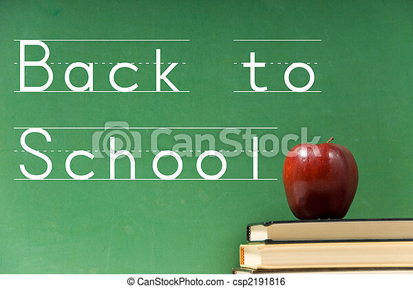 School books and chalkboard - csp2191816