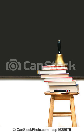 School books on stool - csp1638979