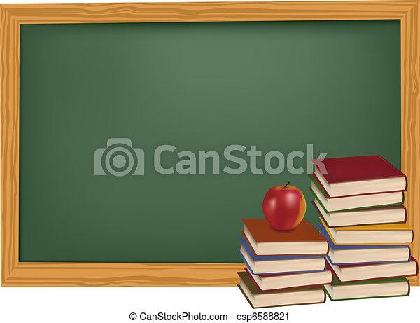 School books with apple  - csp6588821