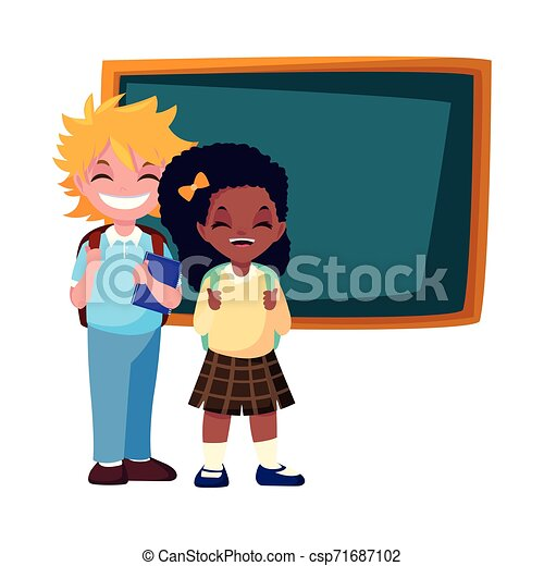 school boy and girl with chalkboard - csp71687102