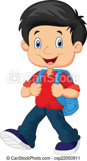 Vector illustration of school boy cartoon walking.