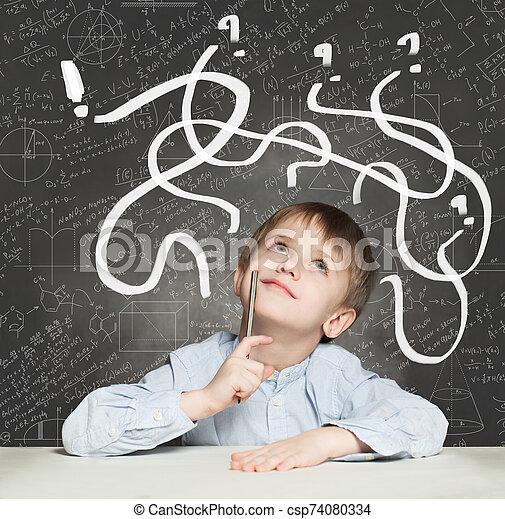 School Boy has an idea. Education Concept with question signs - csp74080334