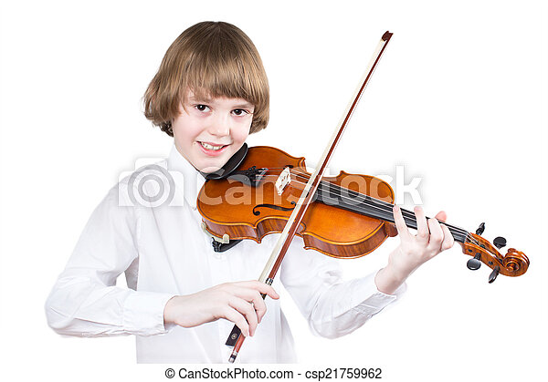 School boy playing violin, isolated on white - csp21759962